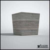 Baxter Fiberglass Tapered Square Planter, Faux Board-Formed Concrete