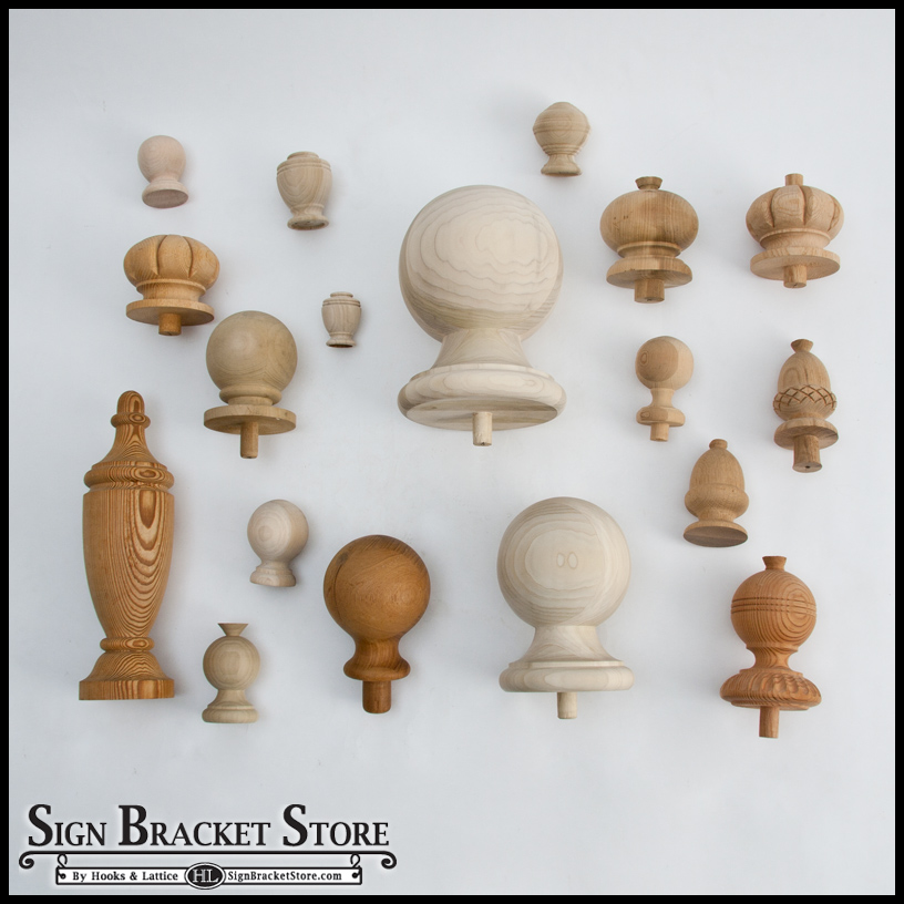 small wooden finials