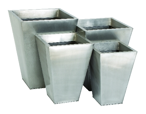 Galvanized Silver Metal Tapered Planters Click to enlarge
