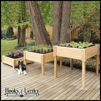 75in. Elevated Cedar Garden Planter w/ Shelf