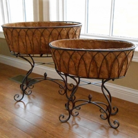 Wrought Iron Tub Planter with Plant Stand