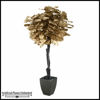 Gold Fiddle Leaf Fig Tree in Square Metal Planter, 7'