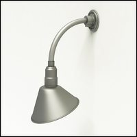 "Gooseneck Light Aluminum - 10"" W x 10"" H, Arm - with 10in. Angle Shade"