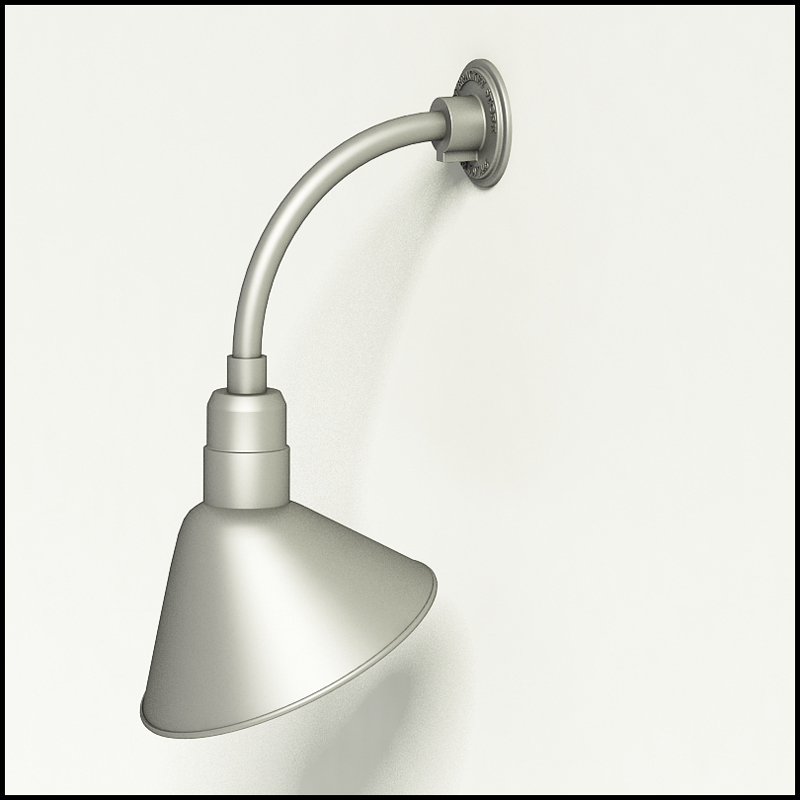 gooseneck light aluminum 10 w x 10 h arm with 12in angle shade