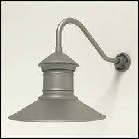 "Aluminum Gooseneck RLM Light - 18"" x 1/2"" Dia. Arm with 16"" Barn Light Shade"