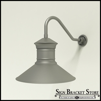 "Aluminum Gooseneck RLM Light -18"" x 1/2"" Dia. Arm with 18"" Barn Light Shade"