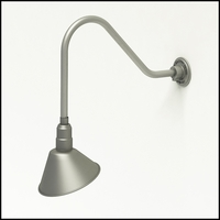 "Gooseneck Light Aluminum- 22-1/4""L x 1/2"" Dia Arm - 10"" Angle Shade"
