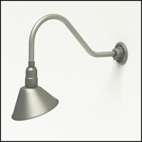 "Gooseneck Light Aluminum- 22-1/4""L x 3/4"" Dia Arm - 10"" Angle Shade"