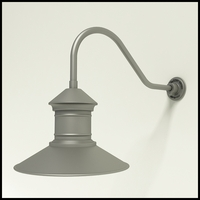 "Gooseneck Light Aluminum - 22.25"" x 3/4"" Dia. Arm with 16"" Barn Light Shade"