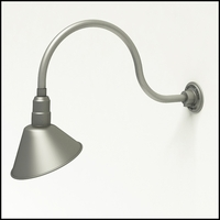 "Aluminum Gooseneck RLM Light - 24-3/4""L x   3/4""  Dia Arm - 10"" Angle Shade"