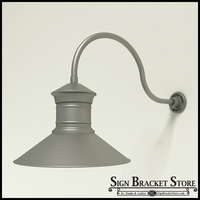 "Gooseneck Light Aluminum - 24.75"" x 1/2"" Dia. Arm with 18"" Barn Light Shade"