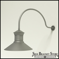 "Gooseneck Light Aluminum - 34"" x 3/4"" Dia. Arm with 18"" Barn Light Shade"