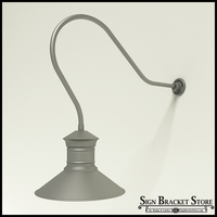 "Gooseneck Light Aluminum - 35"" x 3/4"" Dia. Arm with 18"" Barn Light Shade"