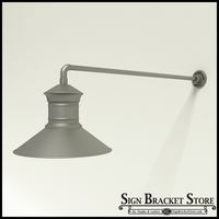 "Gooseneck Light Aluminum - 37.5"" x 3/4"" Dia. Arm with 18"" Barn Light Shade"
