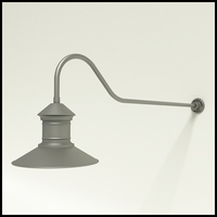 "Gooseneck Light Aluminum - 48.25"" x 3/4"" Dia. Arm with 16"" Barn Light Shade"