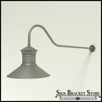 "Gooseneck Light Aluminum - 48.25"" x 3/4"" Dia. Arm with 18"" Barn Light Shade"