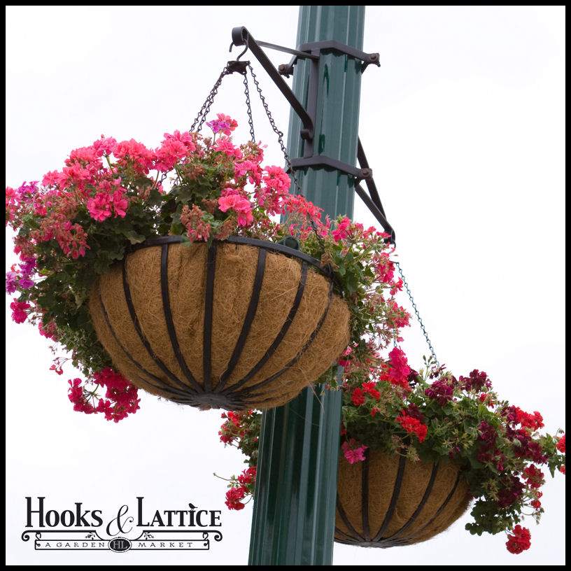 Garden Design With Hanging Basket Brackets Outdoor Flower Baskets Lamp Post