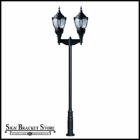 HID Vintage Look Dark Sky Post Mount Light with Clear Lens -120v - Powder Coated Cast Aluminum Fixture|Dual Lamp