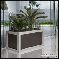 Horsetail Reed & Sago Palms in Faux Wood Planter