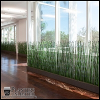 Horsetail Space Divider in Modern Fiberglass Planter 72in.L x 12in.W x 72in.H, Outdoor Rated High Density