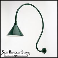 """La Curva"" gooseneck lights, with 12"" dia shade"