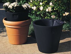 Large Round Tapered Self Watering Pot and Planter Inserts