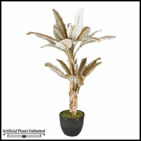 Leopard Print Palm Tree in Willow Basket, 7'