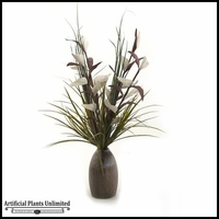 Lighted Bird Of Paradise with Mixed Grasses in Ceramic Bottle, 30 in.