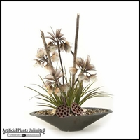 Lighted Imperial Flowers with Mixed Grasses and Bamboo Poles, 28 in.
