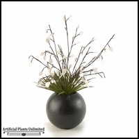 Lighted Silver Dollar Branches and Grass in Resin Ball, 34 in.