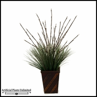 Lighted Willow in Rectangle Wooden Planter, 38 in.