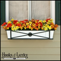Medallion Decora Window Boxes With White Galvanized Liners