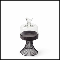 Medium Glass Bird Cloche on Stand