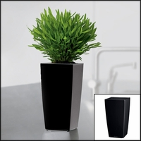 Min-Well Planter, 4in x 4in x 7in - Black High-Gloss