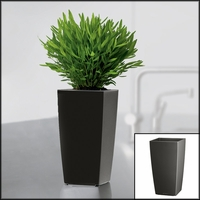 Min-Well Planter, 4in x 4in x 7in - Charcoal