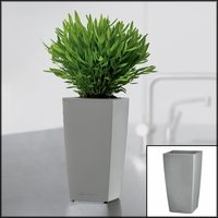 Min-Well Planter, 4in x 4in x 7in - Silver Metallic