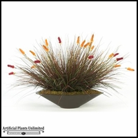3' Mixed Onion Grass in Oblong Metal Planter