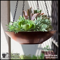 Modern Low Bowl Copper Hanging Basket