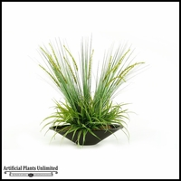 Onion and Yucca Grasses in Oblong Metal Planter, 28 in.