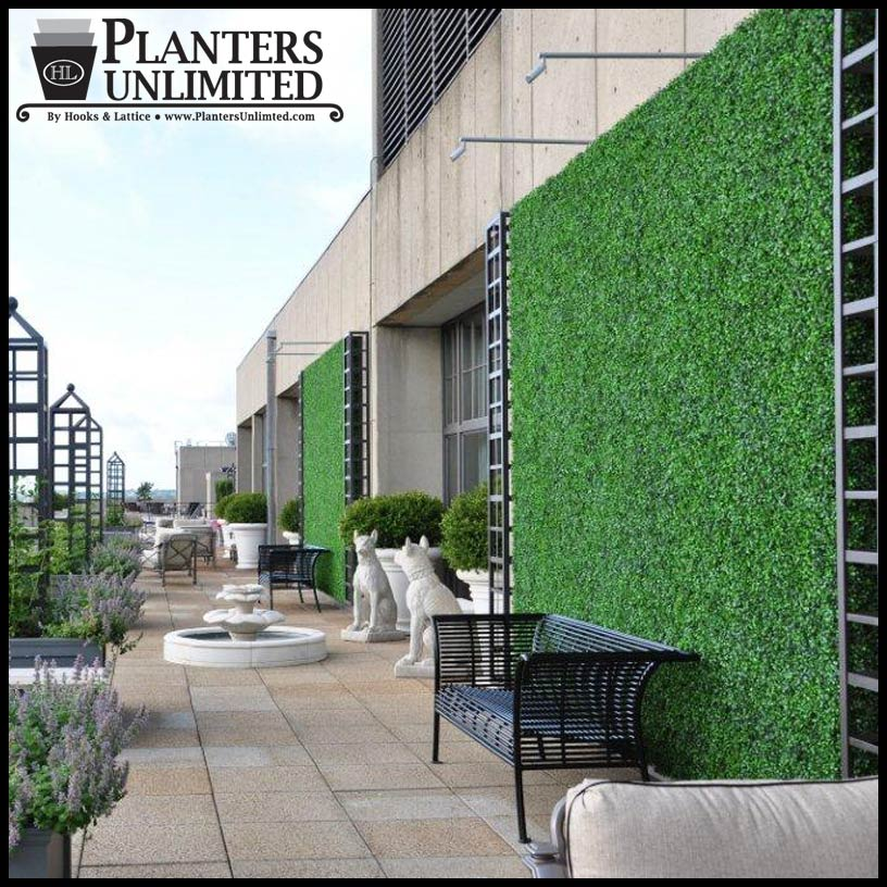 Outdoor Living Wall With Faux Boxwood Artificial Plants