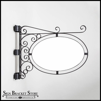 Pole or Post Mount Double Oval Sign Frame w/ Scroll | Includes 46in. x 30in. x 1in. Oval Blank