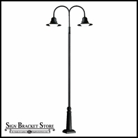 Post Mount Double Arm Light - 120v Powder Coated Cast Aluminum Street Light - Powder Coated Black