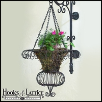 "Powder Coated Brown Victorian French Wire Hanging Basket With Four 20"" Chains"