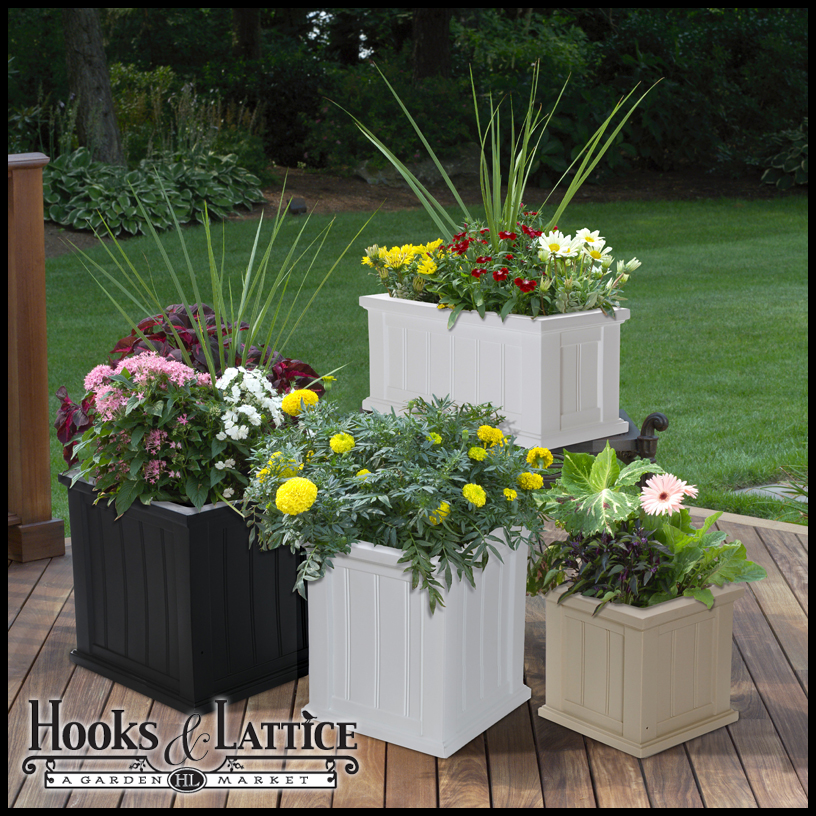self watering plastic planter boxes patio planter hooks and lattice