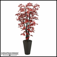 Red/Black Olive Tree in Round Resin Planter, 7'