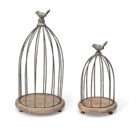 Set of 2 Tall Wood and Wire Bird Cage Centerpieces