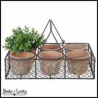 Set of 6 Rustic Pots in Square Wire Basket with handles