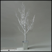 Shiny Silver Spiky Tree in Square Metal Planter, 6'