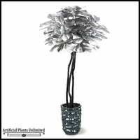 Silver Fiddle Leaf Fig Tree in Tall Contemporary Grey Resin Vase, 6.5'
