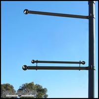 Single Trapeze Banner Bracket, One-Way Bracket, Any Size/Shape Pole Mount for 36in.W Banner